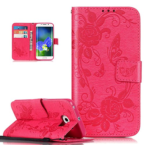 Coque Galaxy S6 Edge,Etui Galaxy S6 Edge, ikasus Coque Galaxy S6 Edge Bookstyle Étui Housse en Cuir Case, Motif Gaufrage Papillon Rose Fleur Etui Housse Cuir PU Portefeuille Folio Flip Case Cover Wallet Coque Protection Étui avec Flex Soft Silicone TPU et Fonction Support Fermeture Aimantée Carte de crédit Logement Poches Case Coque Housse Étui pour Samsung Galaxy S6 Edge - Rose vif