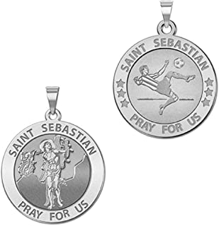 PicturesOnGold.com Soccer - Saint Sebastian Doubledside Sports Religious Medal - 2/3 Inch Size of Dime, Sterling Silver