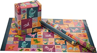 eVincE gift wrapping paper large thick matte dinosaur   colorful fun facts for kids birthdays   thoughtful purpose to wrap...