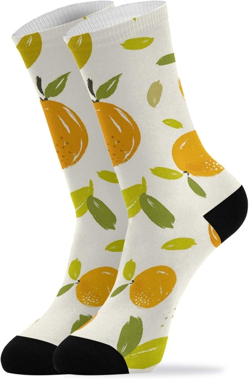 ZZAEO Citrus Oranges Fruit Crew Socks, 2 Pairs Unisex Novelty Casual Socks For Women Men Gifts