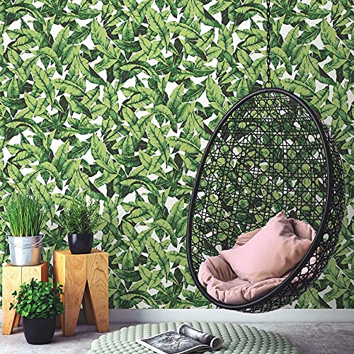 RoomMates RMK11045WP Tropical Palm Leaf Green Peel and Stick Wallpaper