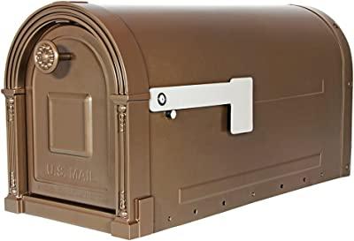 Gibraltar Mailboxes Garrison Large Capacity Galvanized Steel Venetian Bronze, Post-Mount Mailbox, GM160VBEC
