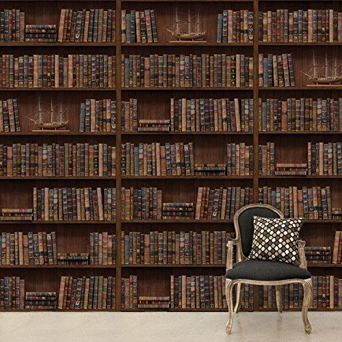Walplus Adesivo da Parete, Motivo Libreria Vintage, PVC, Marrone, 264 x 290 cm