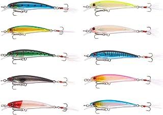 TUXIBIN 10Piezas Señuelos de Pesca Kits, Señuelos Pesca Accesorios Cebos Artificiales Articulos de Pesca con Ganchos Señue...