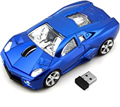 Wireless Car Mouse, 2.4Ghz Cool Mini Sports Cordless Car Mouse Optical Computer Office Mice 1600 DPI for Laptop Computer Mac Novelty Gifts-Blue