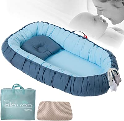 Xingouchen Portable Cribs for Cute Folding Bed Baby Lounger for Bed,100% Soft Cotton Cosleeping Baby nest for Bedroom/Travel, Breathable and Hypoallergenic Bionic Baby Nest (Blue)