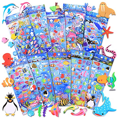 Kids Stickers 500+ 10 Different Sheets, 3D Puffy Sticker for Kids, Bulk Scrapbooking, Ocean Animal Stickers for Boys Girls Teachers Birthday Gift, Party Supplies, Reward