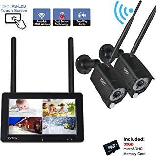 [2-Way Audio]Tonton 1080P Portable LCD Security Camera System Wireless with 7