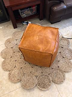 RISEON Unstuffed Boho Handmade Faux Leather Moroccan Pouf Footstool Ottoman Leather Poufs 17.7