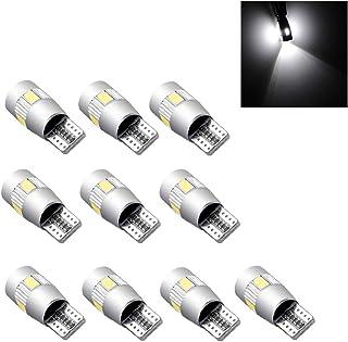 Powstro LED Wedge Light Side Bulbs, 10Pcs T10 W5W 168 194 6SMD 5630 LED Wedge Light White Side Bulbs Canbus Error Free 12V