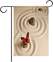 Georgia Yules Garden Flag Outdoor Flag House Flag Banner Butterflies Zen Rock on The Sand Butterfly Serenity Life Cycle Nature Meditation Decor Beige Or Decorated for Outdoor Holiday gardens12x18in