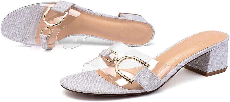 Candye Women Slippers Transparent High Heels shoes Silver Summer Metal Decoration Slippers