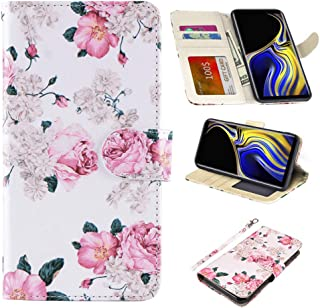 UrSpeedtekLive Samsung Galaxy Note 9 Case, Galaxy Note 9 Premium PU Leather Wristlet Flip Wallet Case Cover with Card Slots & Stand-Flower