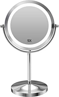 Gospire 10x Magnified Lighted Makeup Mirror Double Sided Round Magnifying Mirror Standing 360 Degree Swivel Vanity Mirror ...