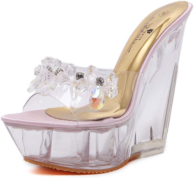 Rhinestone Peep Toe Heels Platform High Heels Sandals Womens Wedge Pumps Party shoes Womens Evening Block Heel