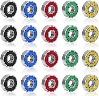 Rybtd 20 STUKS Skateboardlagers kleurenminiatuur, Dubbel afgeschermde lagers ABEC-9 608 2RS Skateboard Lager voor Lange Sk...