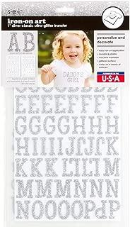 Sei 1 inch Classic Glitter Letter Iron on Transfer, Silver, 2-Sheet