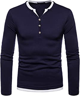 Mens Bottoming T-Shirt V-Neck Long Sleeves Fake Two-Piece Plus Velvet Shirt Tee Top