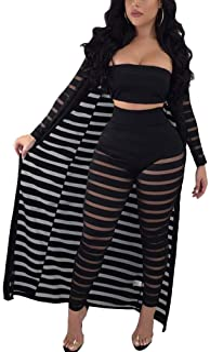 Women 3 Pieces Outfits Sheer Mesh Tube Top Skinny Long Pants Long Sleece Maxi Cardigan Set Jumpsuit
