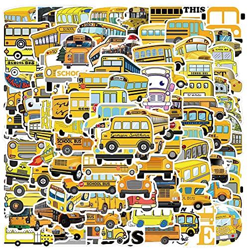 Lindo autobús Escolar de Dibujos Animados Pegatinas de Graffiti decoración de la Personalidad Equipaje de la computadora Impermeable se Puede Mover 100 Hojas