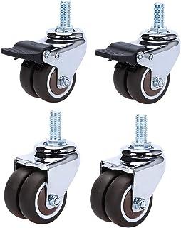 4 Trolley Draaibare Castor Wielen Met Remmen Rubber Meubilair Caster Vervanging Twin Wheel 38/50mm Stille, Bruin, Draag Be...