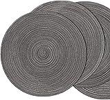 SHACOS Baumwolle Platzsets Set von 6,Tischsets Rund Abwaschbar Verschleißfest Hitzebeständig,geflochtene Platzdeckchen,Ideal für Küche,Dekor,- Dunkelgrau - 5