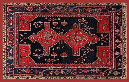 HomeLife Tapis de style persan / oriental 154 x 244 cm | Tapis lavable pour salon, chambre à coucher, salon avec fond antidérapant | Descente de lit Impression numérique de style oriental rouge