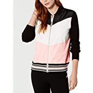 Women's Colorblocked Chevron Front Zip-Up Closure Styling Jacket, XX-Large, Black/Ivory/Ballerina