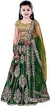 F Plus Fashion Girl's Satin Semi-stitched Lehenga Choli (FP_K_Green_Butto_Green_8-13 Years)