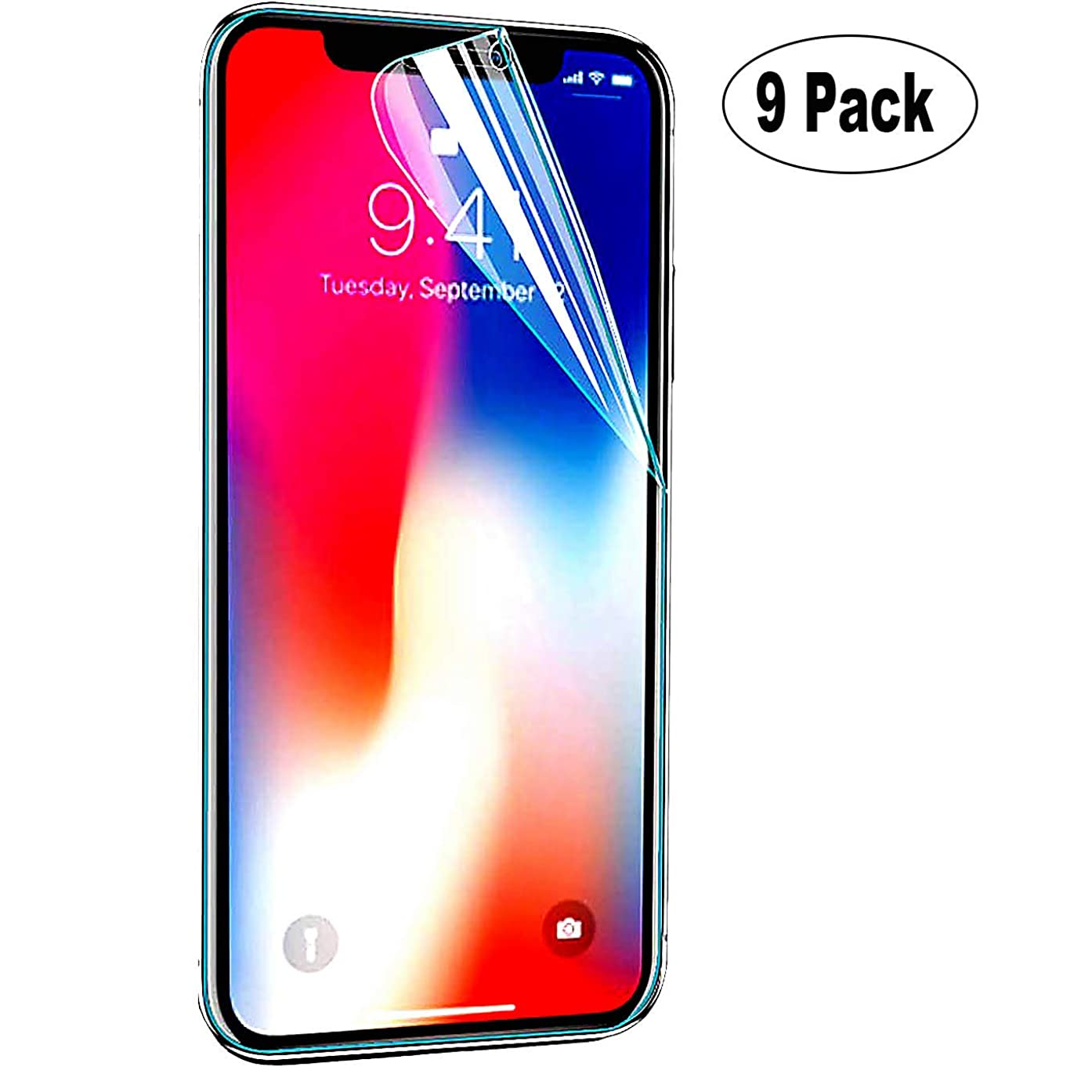 [9-Pack] High Definition HD-Clear Film Screen Protector,Not Glass,3D Touch Edge to Edge,2.5D Edge,Anti-Scratch iBarbe Compatible with Apple iPhone XR (6.1-inch)