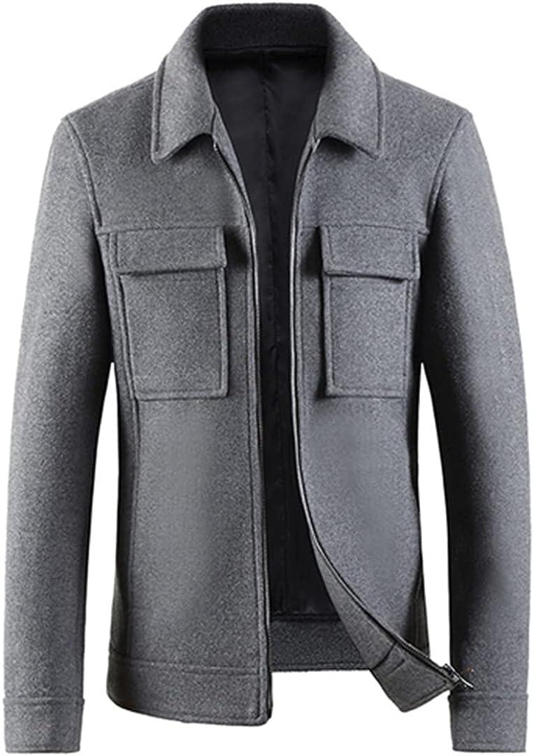 Winter Wool Coats Turn Collar Overcoats Pockets Casaco Masculino Zipper Turn Collar Soft Shorts Coats