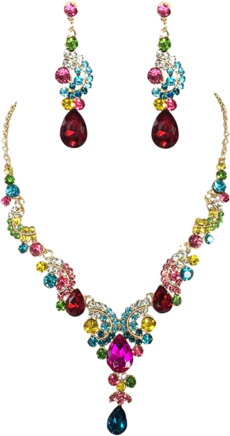 B Jewelry Collection Candy Color Crystal Statement Necklace & Tear Drop Earrings Set, Multicolored