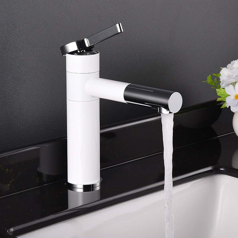TYSYA Bathroom Sink Faucet Single Handle Brass White Chrome Deck Mounted Mixer Tap Swivel Spout Anti-Leak Anti-Rust,ShortType