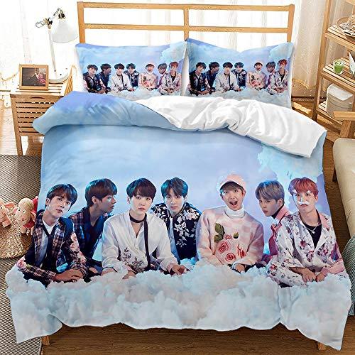 YMYGYR 3D-gedruckte Bettbezüge und Kissenbezüge des BTS Top-Herrenteams, Mädchen, geeignet für Schlafzimmerapartments usw.-EIN_210 x 210 cm (3 Stück)