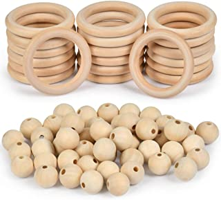 WOWOSS 70 Pcs Unfinished Solid Wooden Rings and Natural Round Wood Spacer Beads Without Paint for Necklace Bracelet Jewelr...