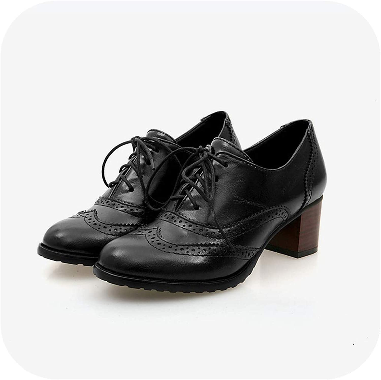 Forever Long Spring Autumn Women Shallow Brogue shoes Vintage Chunky Heel Cut Out Oxford shoes Ladies