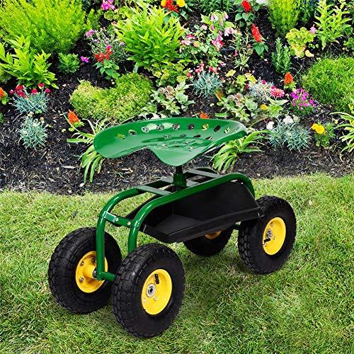 CRZJ Garten Scoot mit Drehsitz, Heavy Duty Hocker Scooter, Gärtner Pflanzen Küche Heim Indoor Outdoor, Garten Wagen W/Rollsitz