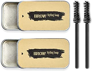 2Pack Eyebrow Soap Kit,Brows Styling Soap,Long Lasting Waterproof Smudge Proof Eyebrow Styling Pomade for Natural Brows, 3D Feathery Brows Makeup Balm