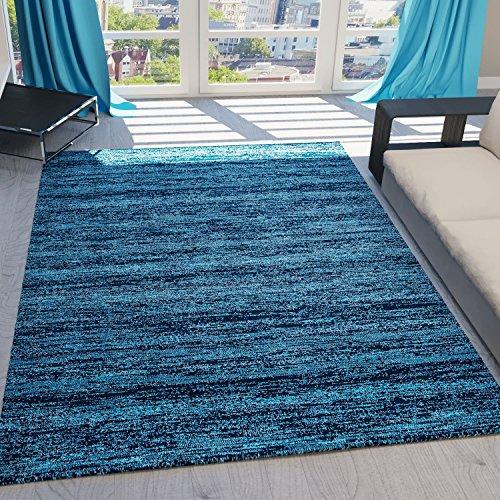 Teppich-Home Tapis moderne à poils courts Motif moucheté nuances de bleu blanc, Farbe : Grau, Maße : 160 x 230 cm