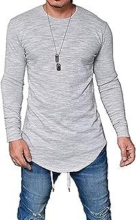 Mens Long Sleeve T Shirts Hipster Hip Hop Slim Swag Curve Hem Basic Tee Tops