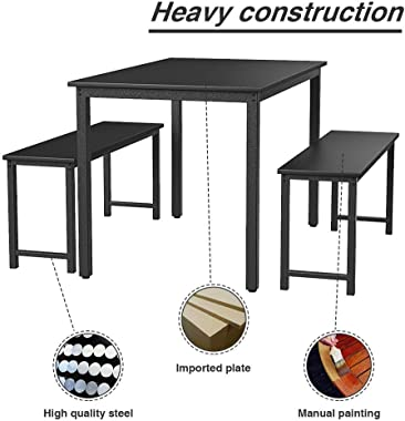 LinkRomat (Black 3 Pieces Set,Wood Table with 2 Benches Kitchen Dining Room Furniture
