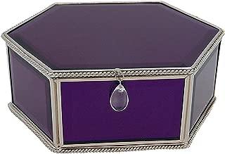 BJ Decor Glass Jewelry Box,Purple Decorative Keepsake Box Mirrored Trinket Box Personalized Storage Box Organizer for Jewelry Glasses Watch Accessories(7.5x5.75x3in)