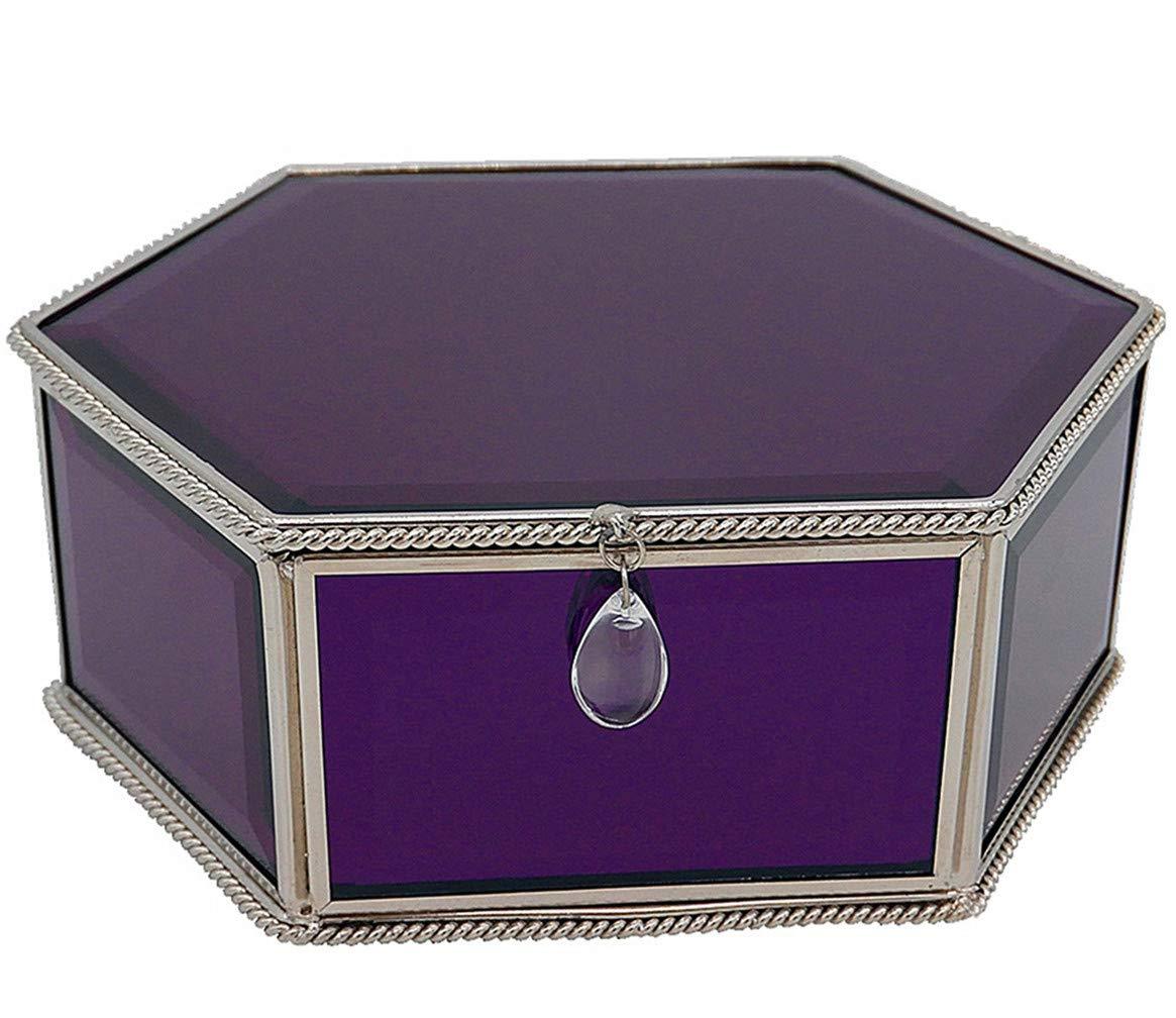 Bj Decor Glass Jewelry Box Purple Decorative Keepsake Box Mirrored Trinket Box Personalized Storage Box Organizer For Jewelry Glasses Watch Accessories 7 5x5 75x3in Buy Online In Cayman Islands At Cayman Desertcart Com Productid 148513608