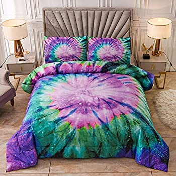 Meeting Story Tie Dye Boho Galaxy Comforter Set Queen Colorful Psychedelic Swirl Pattern for Girls Teens Women,Summer Cooling Bedding Quilt Sets Queen Purple
