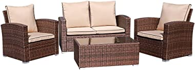 JOIVI Patio Furniture Set, 5 Piece PE Rattan Sectional Outdoor Conversation Sofa Set with Brown Wicker, Coffee Table with Tem