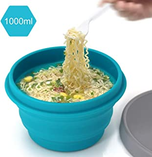 Silicone Collapsible Bowl with Lid for Travel Camping Hiking Folding Travel Bowl Portable for Outdoor and Indoor