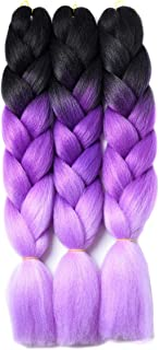 Ombre Braiding Hair Kanekalon Braiding Hair Synthetic Hair Extensions for Braiding Crochet Twist Box Braids 24 Inch 3 Tone Black to Purple to Light Purple 3 Packs Jumbo Braiding Hair