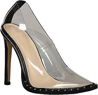 44ef0168a8c Alrisco Women Studded Clear Pointy Toe Stiletto Pump RD07