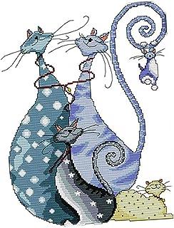 F Fityle Kreuzstich Stickerei DIY Handarbeit Stickpackung Set, Zwei Katzen Muster, Stickbild Stickvorlage vorgedruckt Sticken Stickset Handwerk - 14CT 32x41cm
