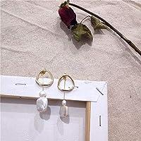 GWACC 韓国デザインメタルゴールドドロップイヤリングバロック不規則なサークルスクエアナチュラル淡水真珠のイヤリング女の子ピアス